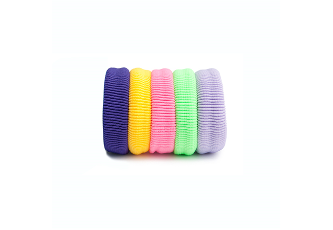 5 COLORFUL ELASTIC NYLON PONYTAILERS